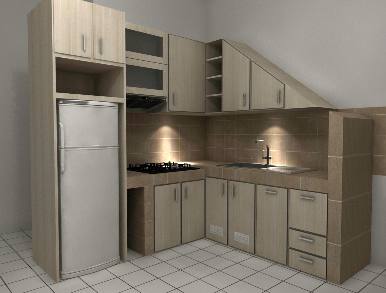 Kitchenset bawah tangga maksimalkan fungsi renovasi for Kitchen set bawah